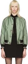 Miu Miu Green Oversized Patches Bomber Jacket