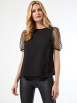Dorothy Perkins Organza Puff Short Sleeve Top - Black