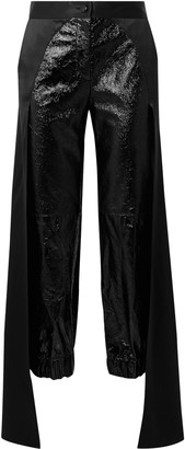Hellessy Jagger Draped Glossed Textured-leather Tapered Pants