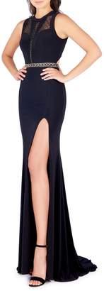 Mac Duggal Ornate Illusion Paneled Cutout Gown