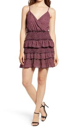 Rowa Sleeveless Smocked Tiered Minidress
