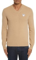 Comme des Garcons Men's White Heart Wool V-Neck Sweater
