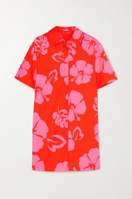 STAUD Floral-print Stretch-cotton Poplin Mini Shirt Dress - Red