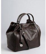 Furla chocolate pebbled leather convertible 'Zaffiro' tote