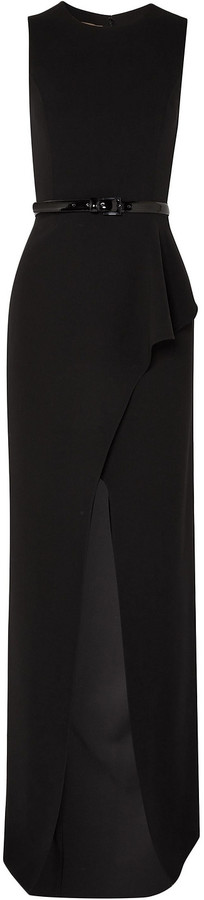 Michael Kors Collection Belted Ruffled Wool-blend Crepe Gown