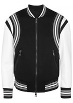Neil Barrett Monochrome Leather And Jersey Bomber Jacket