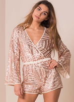 Missy Empire Madison Nude Sequin Bell Sleeve Playsuit