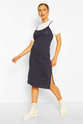 boohoo Pinstripe T-shirt Layered Midi Slip Dress