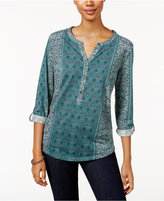 Style&Co. Style & Co. Petite Printed Split-Neck Top, Only at Macy's