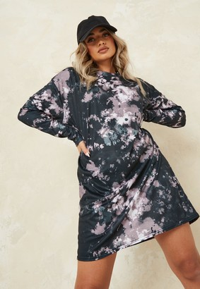 Missguided Charcoal Tie Dye Oversized T Shirt Dress