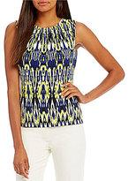 Calvin Klein Ikat Stripe Print Matte Jersey Pleat Neck Shell