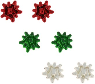 Holiday Ribbon Trio Nickel Free Stud Earrings Set