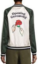 Opening Ceremony Gestures Reversible Silk Varsity Jacket