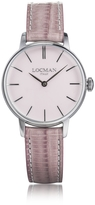 Locman 1960 Silver Stainless Steel Women's Watch w/Pink Croco Embossed Leather Strap