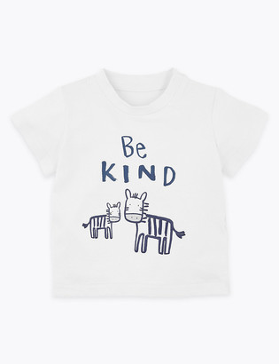 Marks and Spencer Cotton Be Kind Slogan T-Shirt (0-3 Yrs)