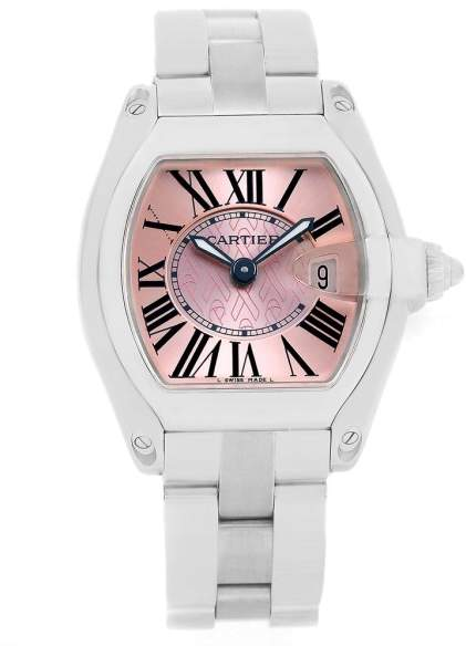 Cartier Roadster W62043V3 Stainless Steel & Pink Dial 30mm Womens Watch