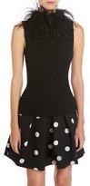 Moschino Feather-Collar Sleeveless Knit Top, Black
