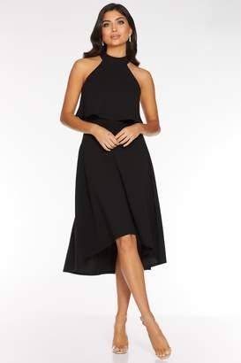 Quiz Black High Neck Dip Hem Dress