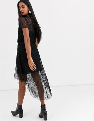 Stradivarius lace dress in black