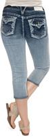 Amethyst Jeans Flora Sequin Pocket Capri Jeans