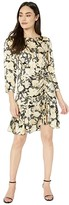 Rebecca Taylor Long Sleeve Gold Leaf Dress (Black Combo) Women's Clothing
