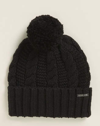 Michael Kors Cable Knit Pom Beanie