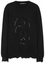 Alexander Mcqueen Piercing Skull Black Wool Blend Jumper