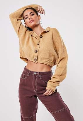 Missguided Camel Mock Horn Button Crop Knitted Cardigan