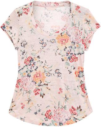 Rebecca Taylor Floral-print Slub Linen-jersey T-shirt