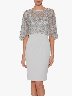 Gina Bacconi Laverna Crepe Dress With Beaded Cape, Silver Mist