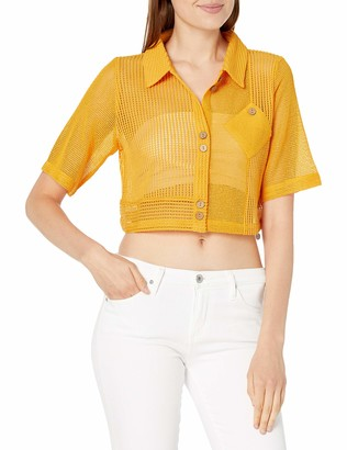 Finders Keepers findersKEEPERS Women's Collared Short Sleeve Coconut Sheer Button Down Top