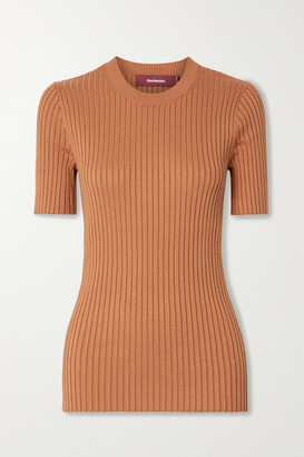 Sies Marjan Adut Ribbed Stretch-silk T-shirt - Tan