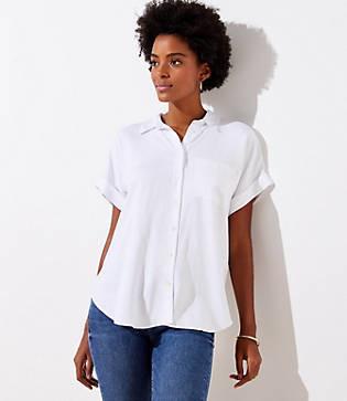 LOFT Petite Short Sleeve Tunic Blouse