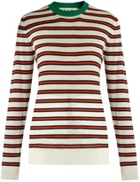 Marni Striped contrast-collar cashmere-blend sweater