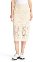 DKNY Exposed Seam Lace Pencil Skirt