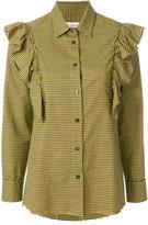 Golden Goose Deluxe Brand mini check frill blouse