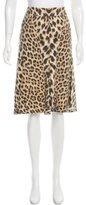 Roberto Cavalli Denim Leopard Print Skirt