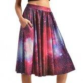 Dasbayla Lady Retro Galaxy Printed Midi Skater Swing Skirt A-line Dress with Pockets L