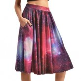 Dasbayla Women's Vintage Cherry Printed Mid Knee Length A-line Skirt Party Swing Dress L