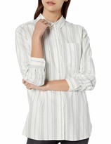 Goodthreads Amazon Brand Women's Brushed Twill Long-Sleeve Button-Front Tunic Shirt