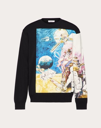 Valentino Spaceland Crew-neck Sweater Man Black Viscose 83%, Polyester 17% L