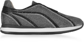 Rodo Silver and Black Lurex Slip On Sneakers w/Black Studs