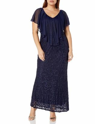 Marina Women's Plus Size Capelet Lace Gown