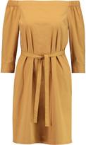 Theory Zizinna off-the-shoulder cotton-blend poplin mini dress