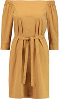Theory Zizinna off-the-shoulder stretch cotton-poplin mini dress