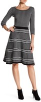 Taylor Mixed Print Flare Sweater Dress