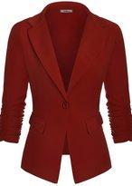 BodiLove Women's Shirring Sleeve Classic One Button Casual Blazer Jacket M (K8286P)