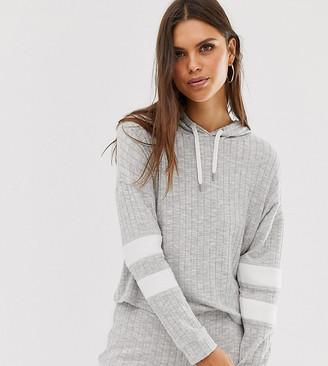 Micha Lounge cropped hoodie in rib co-ord-Grey