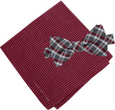 Tommy Hilfiger Men's Grid Pre-Tied Bow Tie & Dot Pocket Square Set