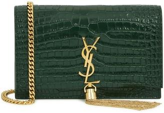 Saint Laurent Kate Crocodile-effect Leather Wallet-on-chain